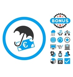 Euro Financial Umbrella Flat Icon with vector image