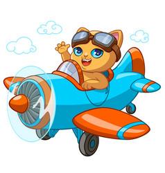 kitty pilot cartoon of kitten vector image