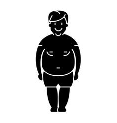 man fat - fat guy icon black vector image