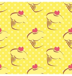 Seamless yellow cake pattern with polka dots vector image vector image