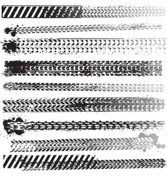 set of tire tracks vector image vector image