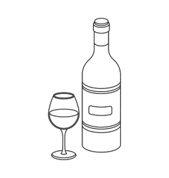 Spanish wine bottle with glass icon in outline vector image