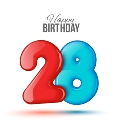 birthday 3d greeting card with numbers 28 twenty vector image vector image