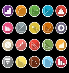 Diagram and graph icons with long shadow vector image
