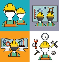 Engineer construction manufacturing workers set vector image vector image