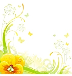 Floral summer background with yellow violet flower vector image
