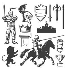 Knights Monochrome Elements Set vector image