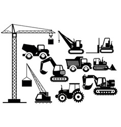 set of excavators and heavy vector image