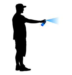 silhouette man holding a spray on a white vector image vector image