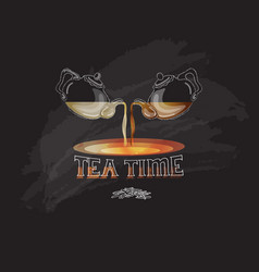 tea time card with teapo vector image
