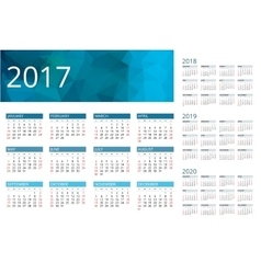 Calendar for 2017 2018 2019 2020 Week Starts vector image vector image