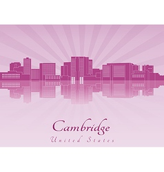 Cambridge skyline in purple radiant orchid vector image