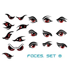 Danger monster aand evil red eyes set vector