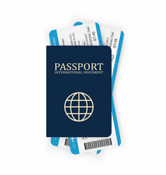 passport with boarding pass two airplane tickets vector image vector image
