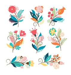 set of cute cartoon flowers vector image vector image