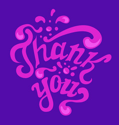 thank you hand drawn lettering calligraphy vector image