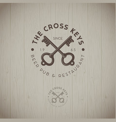 two cross keys pub logo vector image