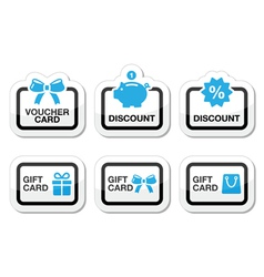 Voucher gift discount card icons set vector image vector image