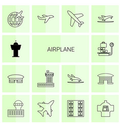 14 airplane icons vector image