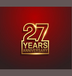 27 years golden anniversary line style isolated vector