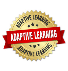 adaptive learning round isolated gold badge vector image