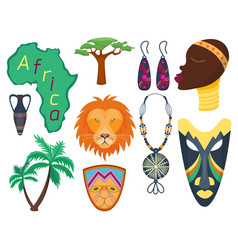 Africa icons jungle tribal and maasai vector