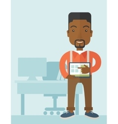 African-american man standing with his tablet vector