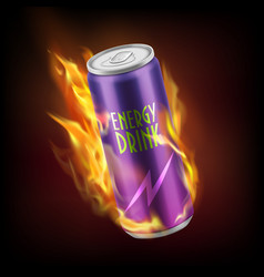 Aluminum can with energy drink in flame vector