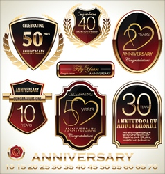 Anniversary red and black label set vector image