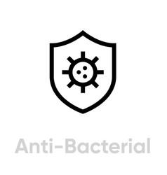 Anti-bacterial shield icon editable line vector