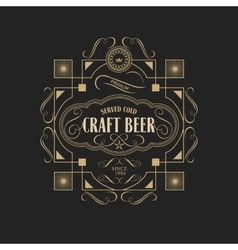 Antique frame vintage border craft beer label vector