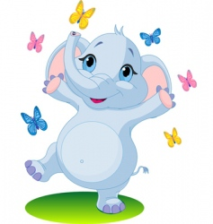 baby elephant dancing with butterflies vector image