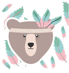 Bear grizzly with feathers hat bohemian style vector