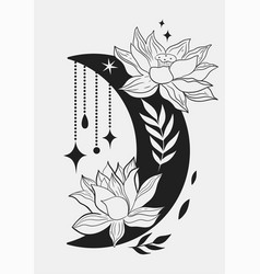 blooming moon with decorative elements isolated vector image