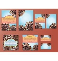 Blue and orange set of brochures flyers vector image