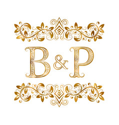 Bp vintage initials logo symbol letters b vector