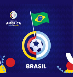 brazil wave flag on pole and soccer ball south vector image