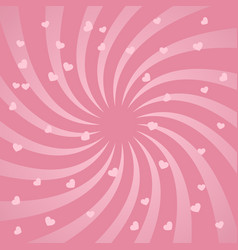 Bright spiral design background with hearts vector