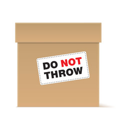 brown cardboard box with warning sign vector image