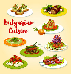 Bulgarian grilled meat and vegetable salad dishes vector