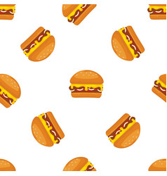 Burger or fast food cartoon seamless vector