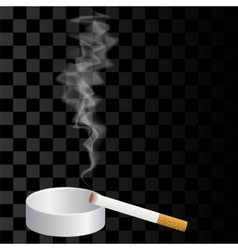 Burning Cigarette and Ashtray Isolated vector image