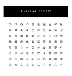 business financial icons set with outline design vector image
