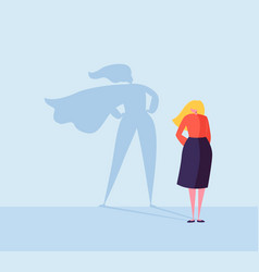 Business woman with a super hero shadow character vector