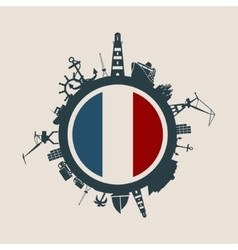 Cargo port relative silhouettes France flag vector image