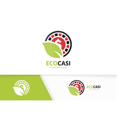 casino and leaf logo combination chip and vector image