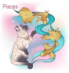 Cat zodiac color pisces vector