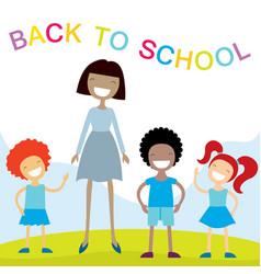 Cheerful teacher and school kids vector