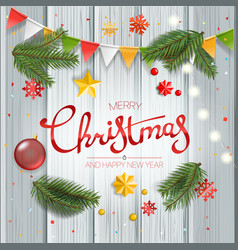 christmas greeting card with calligraphic logo vector image