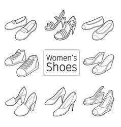 collection of different womens shoes pair outline vector image